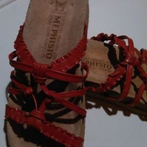 Mephisto Orange Red Sandals Slides